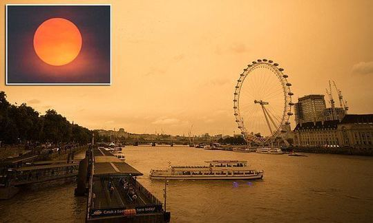 Hurricane creates red sun in the skies over England