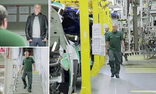 Mourinho polishes his own new car at Jaguar factory