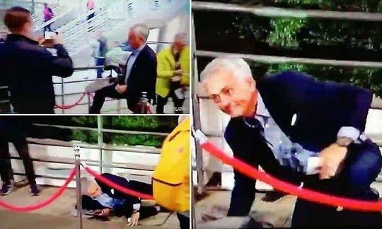 Man United boss Jose Mourinho falls over rope outside Wembley Stadium | Daily