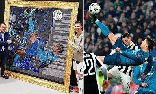 Cristiano Ronaldo given artwork of his overhead kick against Juventus made of Swarovski crystals | Daily