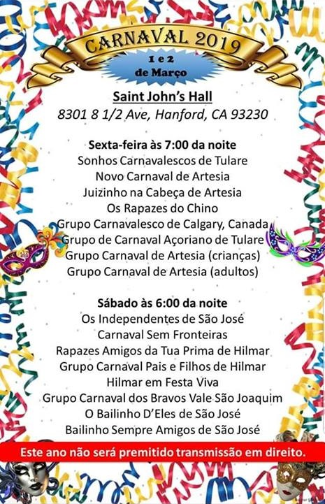 Carnaval 2019 - St. John's Hall - Hanford, California!