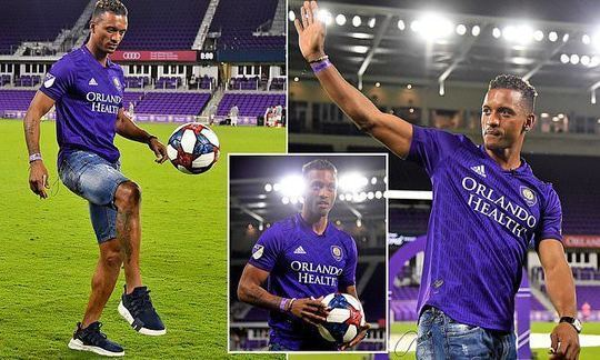 9db6e5a5a5e Nani shows off his skills as winger is presented to fans after completing  transfer to Orlando