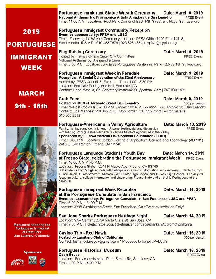 Portuguese Immigrant Week - California - 2019