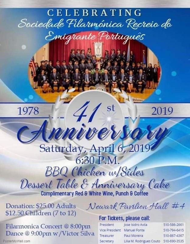 41st Anniversary Sociedade Filarmónica Recreio do Emigrante Português - Newark - California - 2019