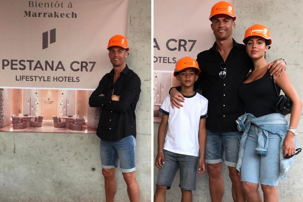 Cristiano Ronaldo and family wear hard hats as Juventus star visits site of his new Marrakesh hotel