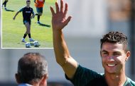 Cristiano Ronaldo pulls up his shorts and works up sweat in training as Portugal prepare for Nations League