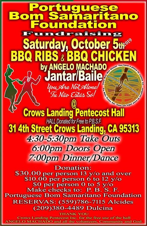 Portuguese Bom Samaritano Foundation Fundraising Dinner and Dance - Crows Landing, California