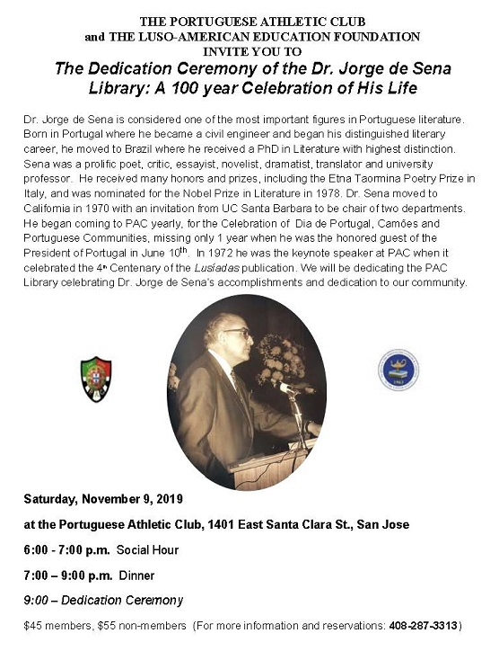 The Dedication Ceremony of the Dr. Jorge de Sena Library: A 100 year Celebration of His Life - San Jose -