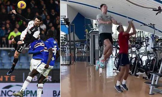 Cristiano Ronaldo teaches tennis star his trademark leap as they get together for gym session | Daily
