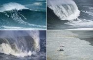 Surfers battle 45ft waves after Storm Ciara creates 'exceptional' weather conditions | Daily -