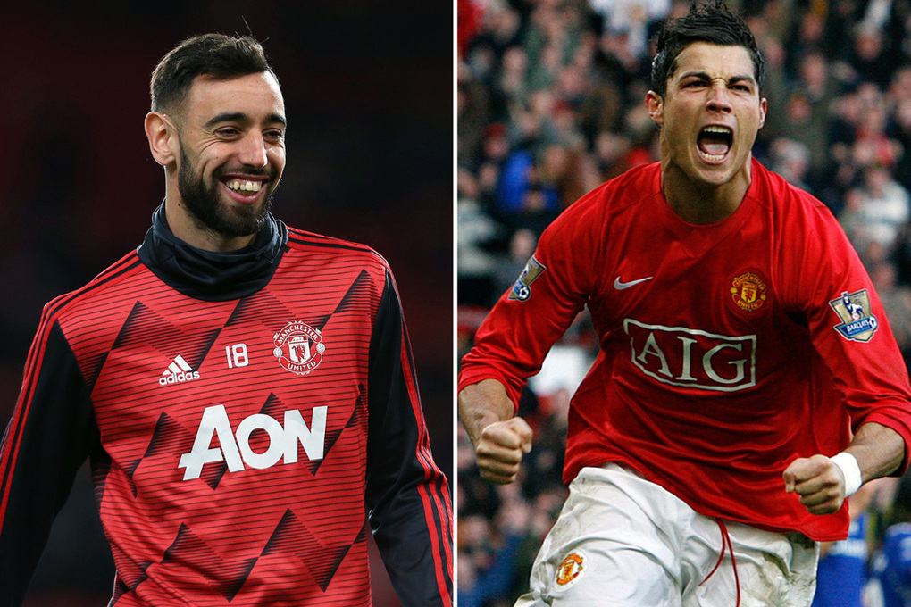 Bruno Fernandes can't stop smiling as he sings his new Man Utd chant comparing him to Cristiano Ronaldo –