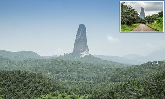 Behold Pico Cao Grande, a needle-shaped rock that rises out of jungle on the island of Sao Tome |