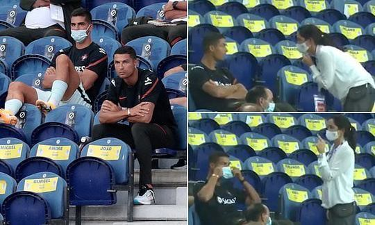 Yes, you Cristiano! Ronaldo told to put his mask on while watching Portugal beat Croatia | Daily -