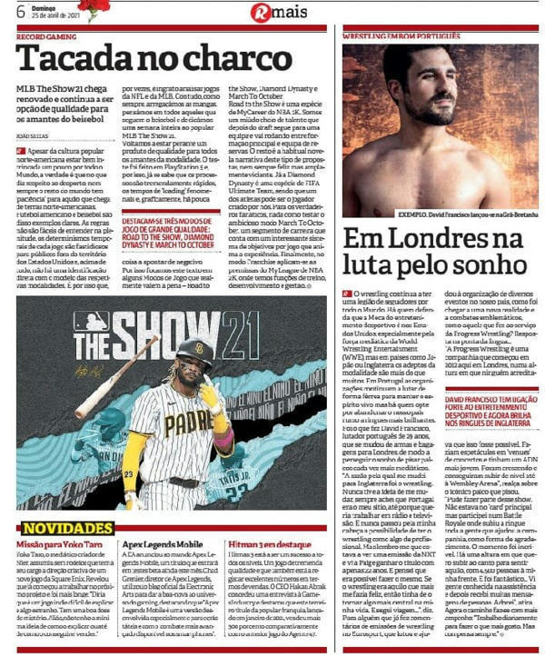 Portuguese Wrestler David Francisco Featured in Print Edition of The Journal Record Newspaper in Portugal -